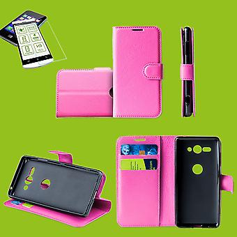 Für Samsung Galaxy M20 6.3 Zoll Tasche Wallet Premium Pink Schutz Hülle Case Cover Etui + 0,26mm H9 2.5 Hart Glas