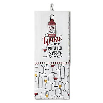Cooksmart Pack of 2 Tea Towels, Wine A Bit