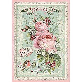 Stamperia Rice Paper A4 Pink Christmas Rose (DFSA4313)