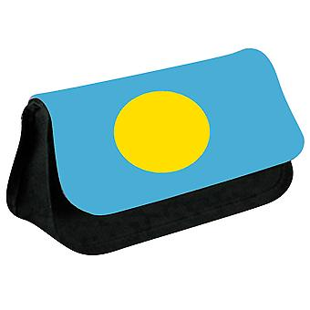 Palau Flag Printed Design Pencil Case for Stationary/Cosmetic - 0133 (Black) by i-Tronixs