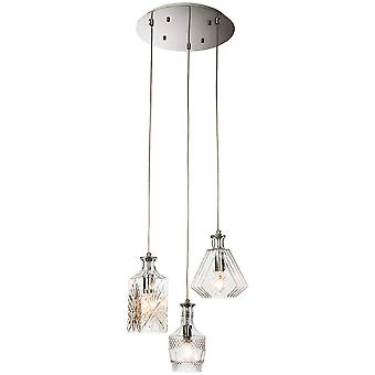 Firstlight-3 Light Ceiling Pendant Chrome, Clear Decorative Glass-3450CH