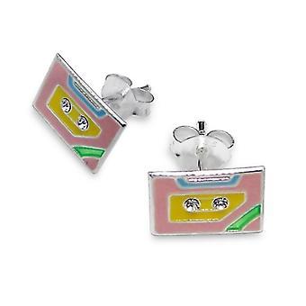 Prata esterlina e brincos de fita de cristal Stud Cassette