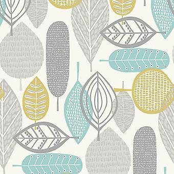 Retro blad striber blomstret tapet Teal hvid grå grønne 60 ' erne Arthouse Malmø