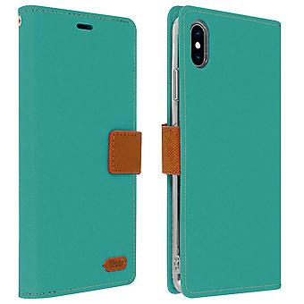 Roar flip wallet case, built-in card slot & stand for Apple iPhone XS Max - Blue