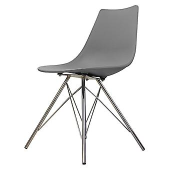 Fusion Living Iconic Mid Grey Plastic Dining Chair With Chrome Metal Legs