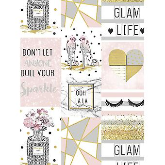 Glam Life collage tapet rosa Arthouse 699402