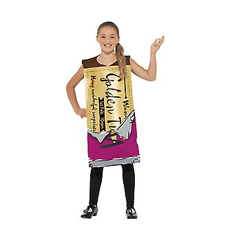 Roald Dahl vindende Wonka bar kostume Kids Chocolate Bar guld billet Kids kostume