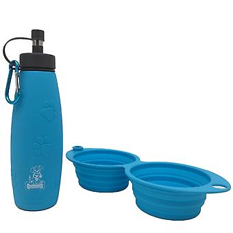 Mr. peanut's pet feeder 2 in 1 travel set - 12oz dual sided collapsible bowl and 20oz water bottle