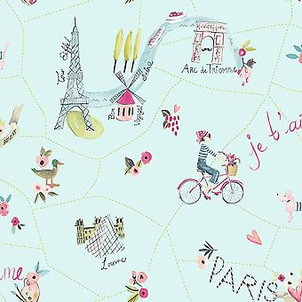 Arthouse Paris With Love Painting Pattern Wallpaper Glitter Motif Eiffel Tower 696104