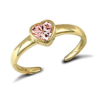 Jewelco London Ladies Solid 9ct Yellow Gold Pink Heart Cubic Zirconia Solitaire Love Heart Toe Ring