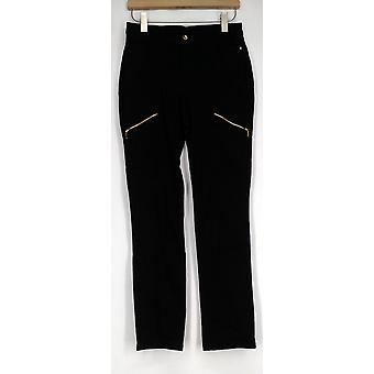Pantalones de pierna recta con detalle de cremallera negro A282387