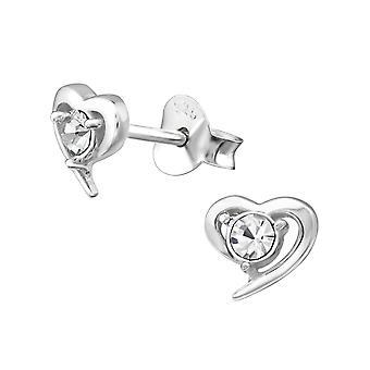 Heart - 925 Sterling Silver Crystal Ear Studs - W22214X