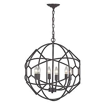 Strathroy 6-light chandelier in aged bronze with honeycomb metalwork