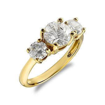 Jewelco London Ladies Solid 9ct Yellow Gold White Round Brilliant Cubic Zirconia 3 Stone Trilogy Engagement Ring