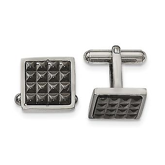 Stainless Steel Polished Black Ip Studded Cuff Links Jewelry Gifts for Men