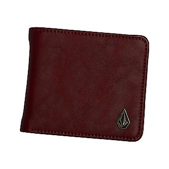 Volcom Slim Stone Faux Leather Wallet in Cabernet