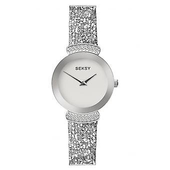Seksy Ladies 2721 Rocks Round Silver Dial Silver Bezel Silver Swarovski Crystals Bracelet Watch