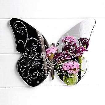 Floral Heart Engraved Butterfly Acrylic Mirror