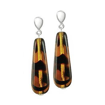 Ewige Sammlung Schildpatt Glas Teardrop Silberfarbe Drop-Clip auf Ohrringe