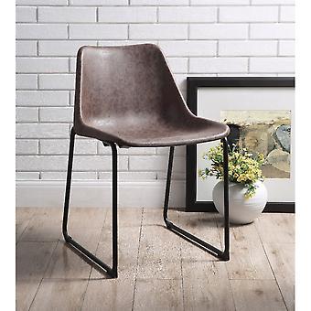 Set de dos sillas laterales metálicas con asiento tapizado de cuero, Mocha vintage y negro