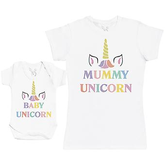 Baby Unicorn & Unicorn Matching Mother Baby Gift Set - Womens T Shirt & Baby Bodysuit