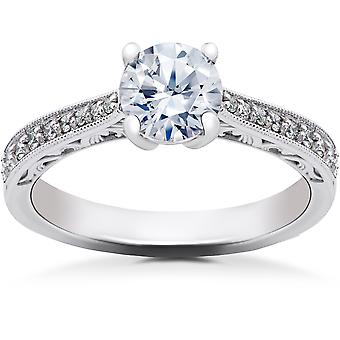 5/8 ct Lab Created Diamond Angelica Vintage Engagement Ring 14k White Gold