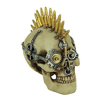 Steampunk Rock Skull with Bullet Mohawk Statue