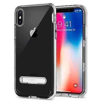 Hoesje Kickstand voor Apple iPhone X - XS Transparant Zilver
