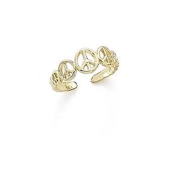14k Yellow Gold Peace Signs Toe Ring Jewelry Gifts for Women - .9 Grams