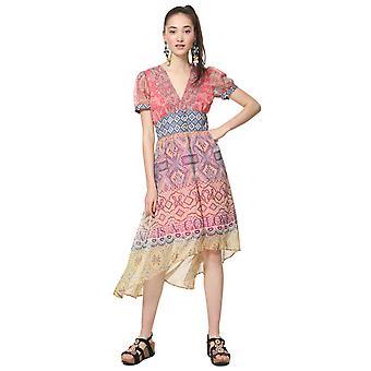 Desigual Frauen's Nana V-Ausschnitt Floaty ethnischen Druck Midi-Kleid