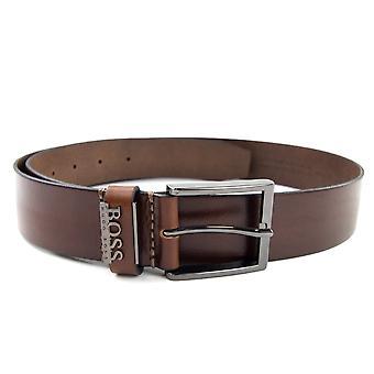 Hugo Boss Senol läderbälte med metall logo typ brun