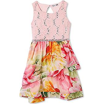 Speechless Big Girls Sparkle Waist Party Dress with Wide Ribbon Hem, Pink/Yel...