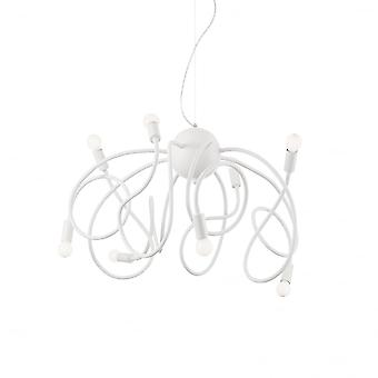 Ideal Lux Multiflex Modern Design 8 Bulb Pendant Light - White
