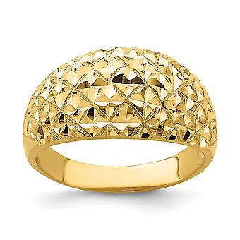 14k Gold Marquise Sparkle Cut Padrão Dome Ring Size 7 Joias Para Mulheres - 3,9 Gramas