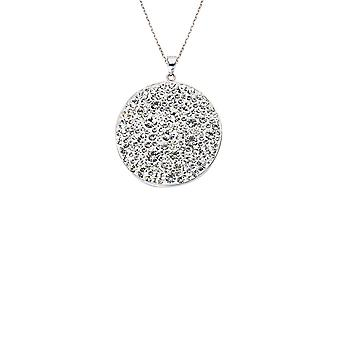 925 Sterling Silver Rhodium Plated Large Crystal Disk Necklace Clear Adjustable 18 Inch Jewelry Gifts for Women