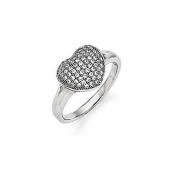 925 Sterling Silber und CZ Zirkonia simuliert Diamant poliert Liebe Herz Ring Größe 8 Schmuck Geschenke für Frauen
