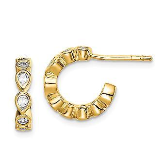 925スターリングシルバーゴールドトーンCZキュービックジルコニアシミュレートダイヤモンドフープイヤリングジュエリーギフト女性のための