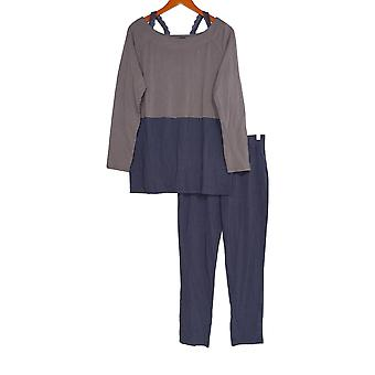 Iedereen Women's Pyjama Set Cozy Knit Color Block Purple A293281