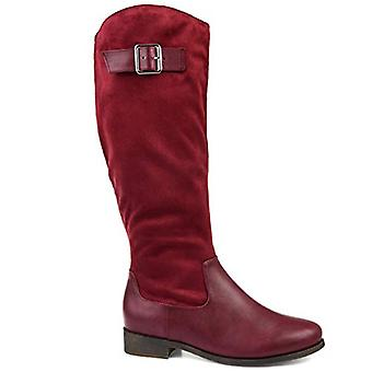 Brinley Co. Comfort Womens Two-Tone Riding Boot Wine, 6.5 Extra Wide Calf US
