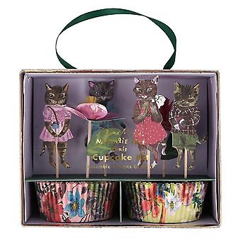 Meri Meri Floral Cat Cupcake Wrapper Kit 24 Fall 24 Toppers Nathalie Lété