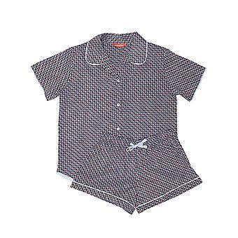 Minijammies 5544 Girl's Olivia Grey Geo Print Cotton Pyjama Short Set