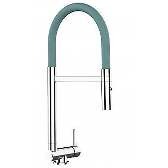 Single-lever Chromed Kitchen Sink Mixer met turquoise beweegbare tuit en 2 Jets Douche - Slechts 4,5 cm - 516