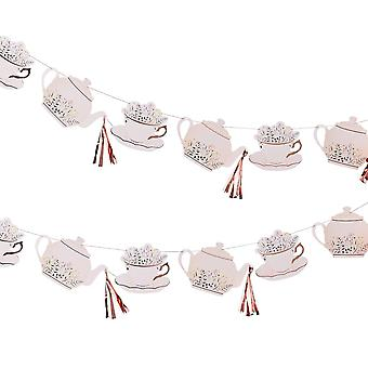 Rose Gold Teapot Tea Party Bunting 3.5M - Afternoon Tea Party