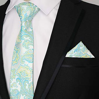 Turquoise green & yellow floral tie & pocket square set
