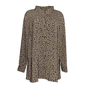 Susan Graver Women's Plus Top Print Stretch Peachskin Shirt Brown A369140