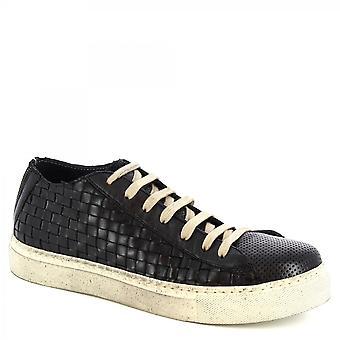 Leonardo Shoes Men's handmade casual lace-ups shoes black woven calf leather