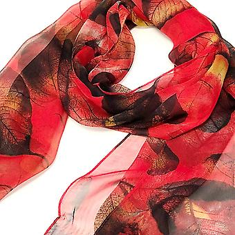 Wrapables Lightweight Sheer Silky Feeling Chiffon, Red Leaves, Size One Size