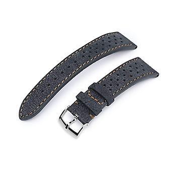 Strapcode leather watch strap 20mm or 22mm miltat rally racing dark grey nubuck watch strap, brown stitching