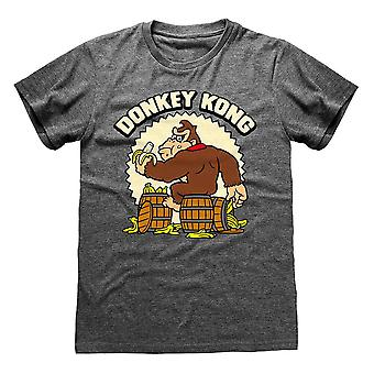Men's Nintendo Donkey Kong Heather Harmaa Crew Neck Loose Fit t-paita