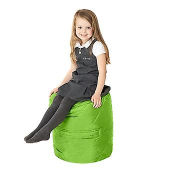 Fun!ture Quilted Round Kids Bean Bag | Outdoor Indoor Living Room Childrens Cylinder Beanbag Seating | Water Resistant | Vibrant Play Kids Colour Seat | High Quality & Comfy (Lime)